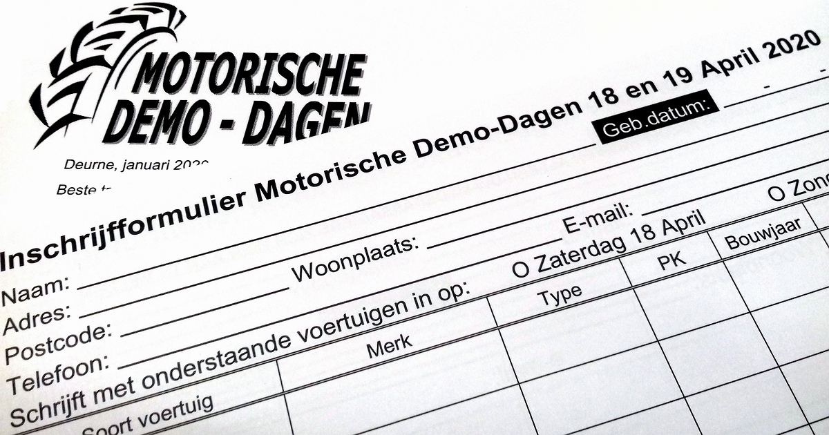 21ste Motorische Demo-Dagen 17-18-19 april 2020
